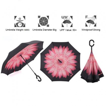 Umbrella Inerted Reverse Filding DOuble Layer Self Stand