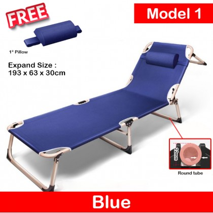 Foldable Folding Sleeping Single Chair Bed Soft Pad Cushioned Lounge Deck Lazy Sofa Home Outdoor Indoor Nap Recliner