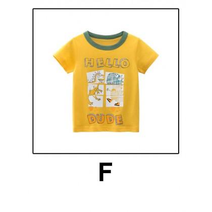 Kids T-shirt Children Boys Baby Short Sleeve Dinosaur Printed Cotton Summer Clothes Baju Kanak-kanak Lelaki 1-10 years