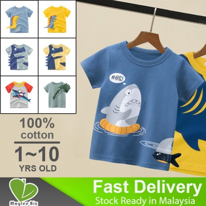 Kids T-shirt for 1-10 Years Boys Girls Children Cotton Summer Clothes Short Sleeve 3D Shark Tail Printed With Patchworks